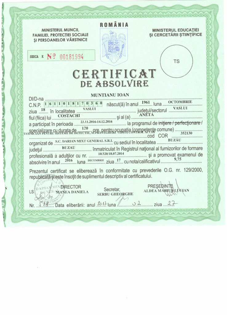 Certificat tehnician detectie
