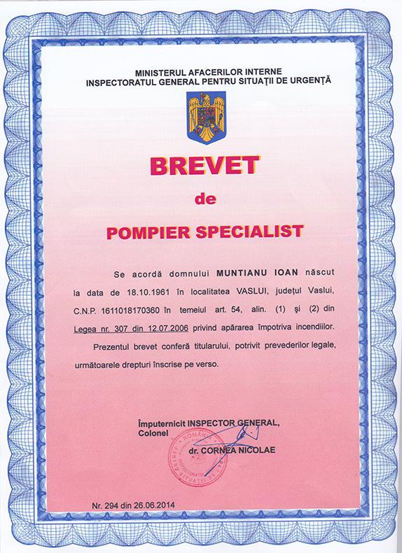 Brevet pompier specialist