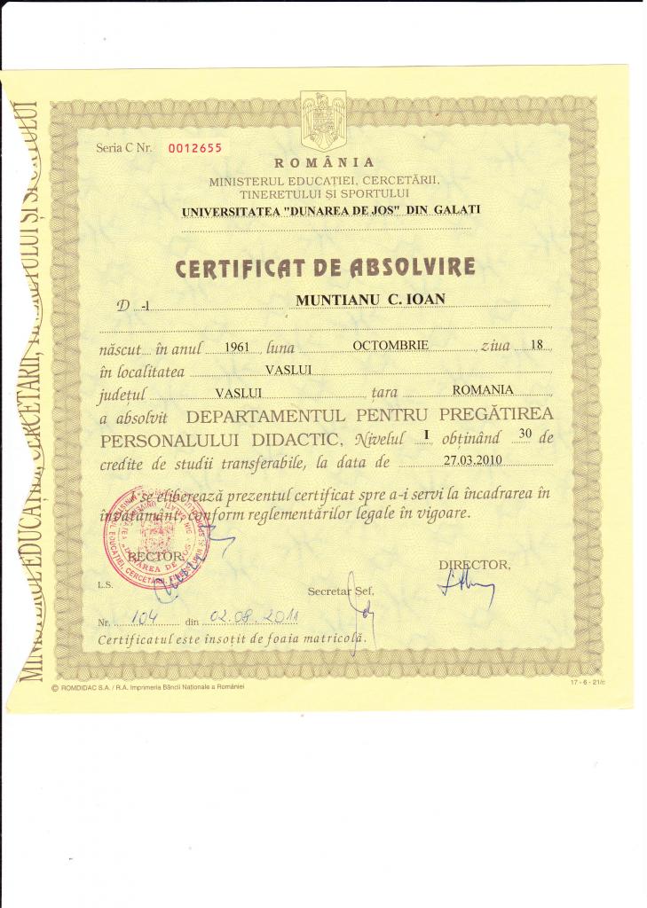 Certificat pregatire nivel 1
