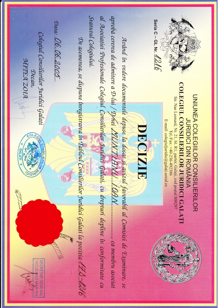Diploma consilier juridic
