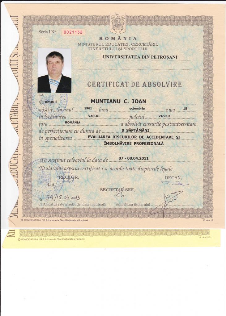 Diploma evaluator de risc incendiu