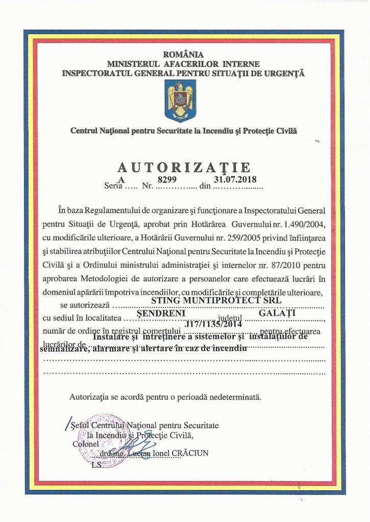 Autorizatie detectie semnalizare si alarmare incendiu